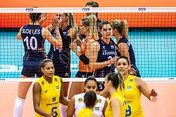10-10-2018 JPN: World Championship Volleyball Women day 11, Nagoya<br /> Netherlands - Brazil 2-3 / Team NL with Yvon Belien #3 of Netherlands