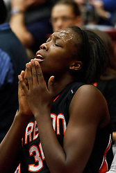 February 24, 2011; Stanford, CA, USA;  Oregon St. Beavers forward El Sara Greer (34) sits on the bench after being intentionally fouled by Stanford Cardinal forward Chiney Ogwumike (not pictured) during the first half at Maples Pavilion.