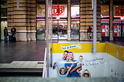 """Germany banned gatherings of more than 2 people called """"social distancing"""" because of the coronavirus. Empty Frankfurt main railyway station on a Saturday evening."""
