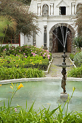 South America, Ecuador, Lasso, garden with fountain, Hacienda La Cienega
