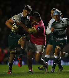 Mike Fitzgerald of Leicester Tigers (L) in action - Mandatory byline: Jack Phillips / JMP - 07966386802 - 13/11/15 - RUGBY - Welford Road, Leicester, Leicestershire - Leicester Tigers v Stade Francais - European Rugby Champions Cup Pool 4