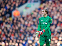 LIVERPOOL, ENGLAND - Saturday, February 24, 2018: Liverpool's goalkeeper Loris Karius during the FA Premier League match between Liverpool FC and West Ham United FC at Anfield. (Pic by David Rawcliffe/Propaganda)