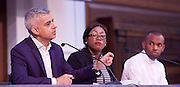Sadia Khan addresses the first Knife Crime Summit <br /> London 2016 <br /> MOPAC <br /> at Friend's Meeting House, London, Great Britain <br /> 13th October 2016 <br /> <br /> Sadiq Khan <br /> Mayor of London <br /> <br /> <br /> Yvonne Lawson - founder of Godwin Lawson Foundation <br /> whose son was killed in a knife attack in Stamford Hill in March 2010. <br /> <br /> Reiss Hall (youth Chair) <br /> <br /> Photograph by Elliott Franks <br /> Image licensed to Elliott Franks Photography Services