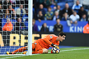 Chelsea goalkeeper Thibaut Courtois (13) makes a save during the Premier League match between Leicester City and Chelsea at the King Power Stadium, Leicester, England on 9 September 2017. Photo by Jon Hobley.
