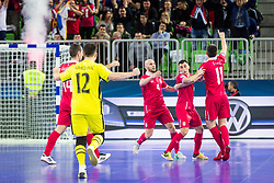 Serbian team celebrate during futsal match between Slovenia and Serbia at Day 1 of UEFA Futsal EURO 2018, on January 30, 2018 in Arena Stozice, Ljubljana, Slovenia. Photo by Ziga Zupan / Sportida