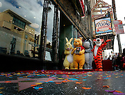 Winnie the Pooh and friends Rabbit, Eeyore, and Tigger are seen on the Walk of Fame as Winnie the Pooh celebrated his 80th birthday with a star dedication in Hollywood, California April 11, 2006.   REUTERS/Max Morse