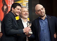 Claudio Giovannesi, Maurizio Braucci, and Roberto Saviano, winner of the Silver Bear for Best Screenplay, for the adaptation of Saviano's novel Piranhas at the award winners press conference at the 69th Berlinale International Film Festival, on Saturday 16th February 2019, Hotel Grand Hyatt, Berlin, Germany.