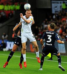 Oliver McBurnie of Swansea City wins the highball  -Mandatory by-line: Nizaam Jones/JMP- 21/08/2018 - FOOTBALL - Liberty Stadium - Swansea, Wales - Swansea City v Leeds United - Sky Bet Championship