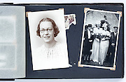 vintage photo album page with family and wedding images England