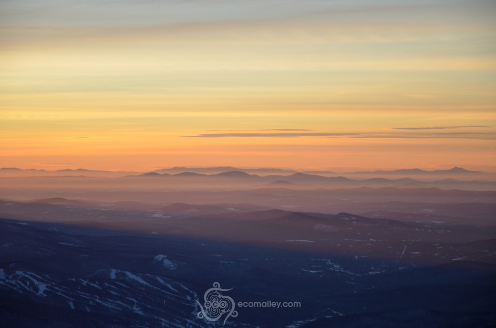 A winter sunrise, as seen from the summit of Mount Washington.