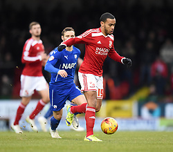 Swindon Town's Louis Thompson in action during the Sky Bet League One match between Swindon Town and Chesterfield at The County Ground on January 17, 2015 in Swindon, England. - Photo mandatory by-line: Paul Knight/JMP - Mobile: 07966 386802 - 17/01/2015 - SPORT - Football - Swindon - The County Ground - Swindon Town v Chesterfield - Sky Bet League One
