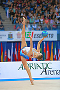 Staniouta Melitina during final at ball in Pesaro World Cup 03 April 2016. Melitina is an Belarusian rhythmic gymnast, she was born in 15 November 1993 Minsk. She is a three time World All-around bronze medalist in 2015, 2013, 2010 retired from rhythmic gymnastics in December 2016.