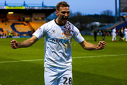 Mickey Demetriou of Newport County celebrates his sides victory over Mansfield Town to send Newport County to the play-off final - Mandatory by-line: Ryan Crockett/JMP - 12/05/2019 - FOOTBALL - One Call Stadium - Mansfield, England - Mansfield Town v Newport County - Sky Bet League Two Play-Off Semi-Final 2nd Leg
