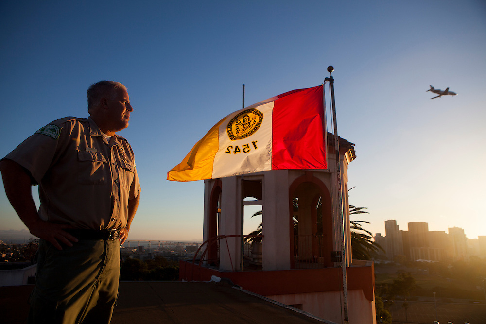 Park ranger Kim Duclo poses for a portrait atop the  Developed Regional Parks Administration Building in Balboa Park.