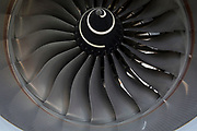 Detail of fan blades of a Qatar Airways Airbus A350-1000 at the Farnborough Airshow, on 18th July 2018, in Farnborough, England.