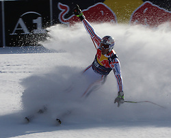 KITZBUHEL AUSTRIA. 22-01-2011. Adrien Theaux (FRA) reacts in the finish area of the 71st Hahnenkamm downhill race part of  Audi FIS World Cup races in Kitzbuhel Austria.  Mandatory credit: Mitchell Gunn