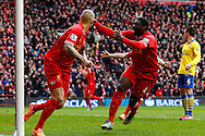 Martin Skrte of Liverpool celebrates scoring his first goal of the game with Kolo Toure of Liverpool during the Barclays Premier League match at Anfield, Liverpool<br /> Picture by David Horn/Focus Images Ltd +44 7545 970036<br /> 08/02/2014