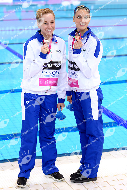 CERRUTI Linda / FERRO Costanza ITA Italy Bronze Medal <br /> Duet Technical Final <br /> London, Queen Elizabeth II Olympic Park Pool <br /> LEN 2016 European Aquatics Elite Championships <br /> Synchronized Swimming <br /> Day 05 13-05-2016<br /> Photo Andrea Staccioli/Deepbluemedia/Insidefoto