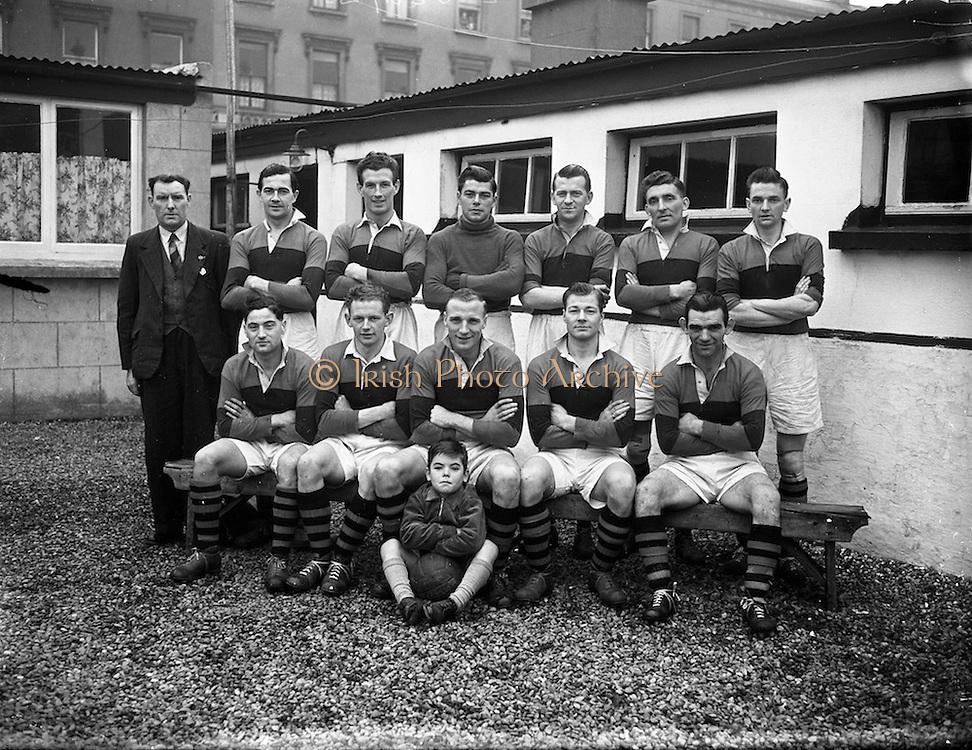 22/01/1956<br /> 01/22/1956<br /> 22 January 1956<br /> Soccer: Albert Rovers v Workmen's FC . FAI Intermediate Semi-Final, Bray. The Albert Rovers Team.