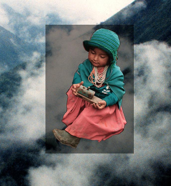 Collage. Indianflicka i Anderna i Ecuador (JPG).