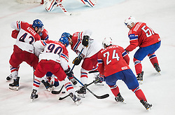 Jan Kovar of Czech Republic, Jonas Holos of Norway, Jan Rutta of Czech Republic, Niklas Roest of Norway, David Pastrnak of Czech Republic, Andreas Martinsen of Norway and Mats Rosseli Olsen of Norway during the 2017 IIHF Men's World Championship group B Ice hockey match between National Teams of Czech Republic and Norway, on May 11, 2017 in AccorHotels Arena in Paris, France. Photo by Vid Ponikvar / Sportida