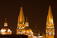 Metropolitan Cathedral (Catedral Metropolitana) at night, Plaza de Armas (square) in the historic Center of Guadalajara, Jalisco, Mexico
