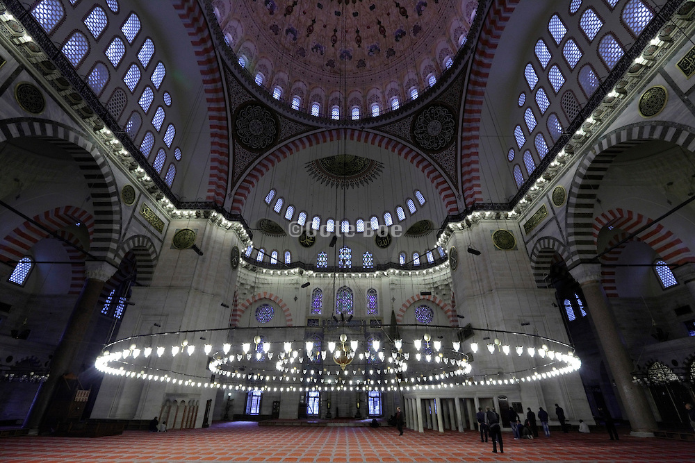 inside the Suleymaniye Camii mosque Istanbul Turkey