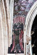 Medieval doom painting of the Day of Judgement, Church of Saint Thomas, Salisbury, Wiltshire, England, UK - Saint James