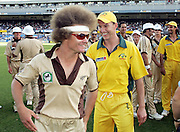 Brett Lee laughs at Hamish Marshall's hair during the Twenty20 International Cricket match between the New Zealand Black Caps and Australia at Eden Park, Auckland, New Zealand on Thursday 17th February, 2005. PHOTO: Andrew Cornaga/Photosport<br />