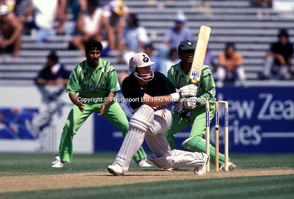 Martin Crowe batting, New Zealand Black Caps v Pakistan, one day international cricket, 1992/93 season. Photo: Andrew Cornaga/PHOTOSPORT