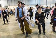 Nederland, Den Bosch, 20150124.<br /> Western Experience in de Brabanthallen in Den Bosch.<br /> Het grootste allround Country &amp; Western festival van Europa.<br /> de tijd van het Wilde Westen.<br /> Het thema Western komt overal terug.&nbsp;Tijdens de Western Experience ervaar je Western in vele facetten. Zo tref je onder andere: countrymuziek, Western riding, Indiaanse PowWow dansen, linedancen, Grote Western Markt met 100 stands voor originele en bijzondere country en Western kleding, kunst, muziek, meubelen en accessoires.<br /> <br /> Netherlands, Den Bosch, 20150124.<br /> Western Experience in the Brabanthallen in Den Bosch<br /> The largest round Country &amp; Western Festival of Europe.<br /> the days of the Wild West.<br /> The Western theme is everywhere. During the Western Experience you experience Western in many facets. So you will find include: country music, western riding, Indian PowWow dancing, linedancen, Great Western Market with 100 booths for original and special country and Western clothing, art, music, furniture and accessories.