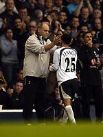 Photo: Olly Greenwood.<br />Tottenham Hotspur v West Ham United. The Barclays Premiership. 22/10/2006. Tottenham manager Martin Jol congratulates substitute Aaron Lennon