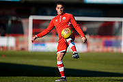Reece Grego-Cox of Crawley Town warms up during the EFL Sky Bet League 2 match between Crawley Town and Macclesfield Town at The People's Pension Stadium, Crawley, England on 23 February 2019.