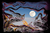 surrealism landscape with moon in blue sky on cloud layer behind dissolving dark violet veil with shades