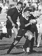 New Zealand All Blacks rugby union match, Michael Jones backed by Gary Whetton. Date Unkown, Photo: Norman Smith.