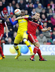 Bristol City's Liam Kelly battles for the ball with Sheffield Wednesday's Jeremy Helan - Photo mandatory by-line: Joe Meredith/JMP - Tel: Mobile: 07966 386802 01/04/2013 - SPORT - FOOTBALL - Ashton Gate - Bristol -  Bristol City V Sheffield Wednesday - Npower Championship
