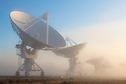 The Very Large Array shrouded in fog. The Plains of San Augustin in southwestern New Mexico.