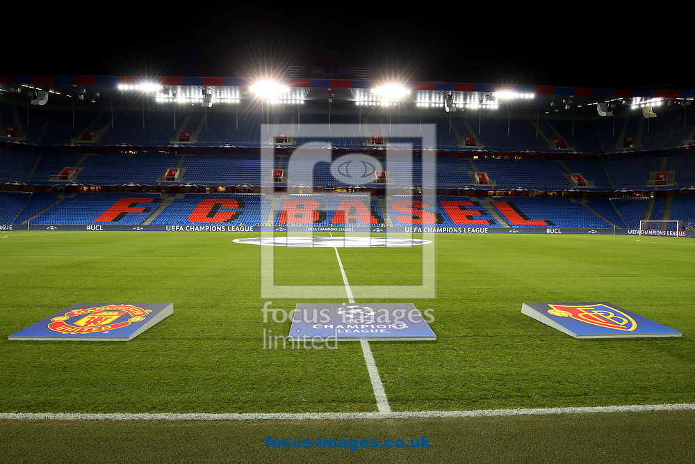 A General View of St. Jakob-Park with Teams and Champions League crests  during the UEFA Champions League match at St. Jakob-Park, Basel<br /> Picture by Yannis Halas/Focus Images Ltd +353 8725 82019<br /> 21/11/2017