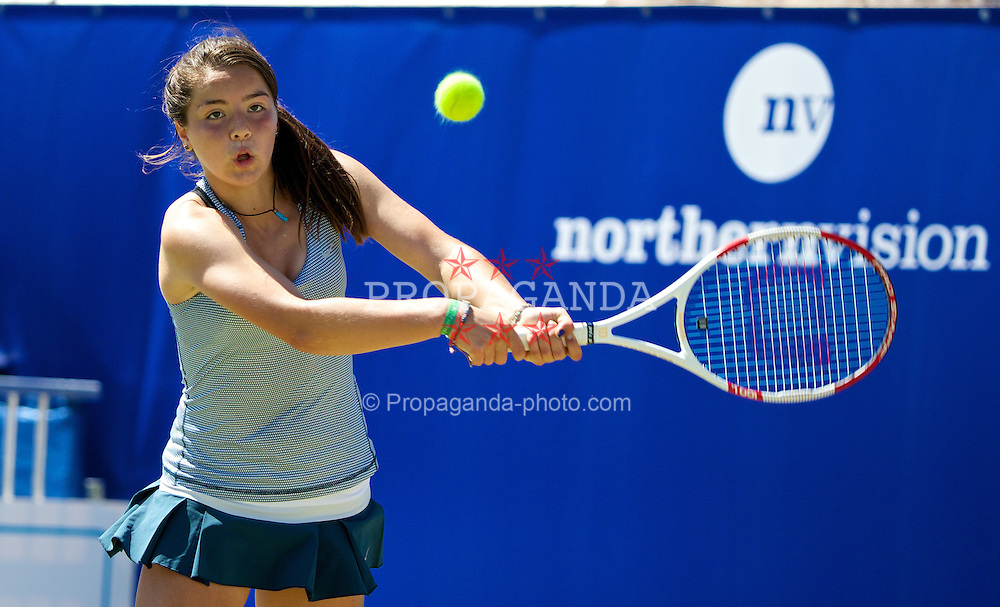 LIVERPOOL, ENGLAND - Friday, June 20, 2014: Jodie Burrage (GBR) during the Ladies' Singles Final on Day Two of the Liverpool Hope University International Tennis Tournament at Liverpool Cricket Club. (Pic by David Rawcliffe/Propaganda)