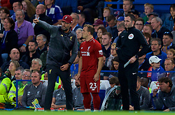 LONDON, ENGLAND - Saturday, September 29, 2018: Liverpool's manager Jürgen Klopp gives instructions to substitute Xherdan Shaqiri during the FA Premier League match between Chelsea FC and Liverpool FC at Stamford Bridge. (Pic by David Rawcliffe/Propaganda)