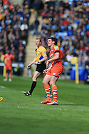 Freddie Burns of Leicester Tigers watches his kick during the Aviva Premiership match at the Ricoh Arena, Coventry<br /> Picture by Michael Whitefoot/Focus Images Ltd 07969 898192<br /> 09/05/2015