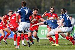 Bristol Rugby Flanker Jack Lam hands off London Scottish Hooker David Cherry - Mandatory byline: Rogan Thomson/JMP - 02/04/2016 - RUGBY UNION - Richmond Athletic Ground - London, England - London Scottish v Bristol Rugby - Greene King IPA Championship.