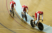 England's Philip Hindes, Jason Kenny and Kian Emadi during their silver medal in the Men's Team Sprint Final. Track Cycling at the Glasgow Commonwealth Games. Sir Chris Hoy Velodrome, Glasgow, Scotland. Thursday 24 July 2014. Photo: Andrew Cornaga / www.Photosport.co.nz