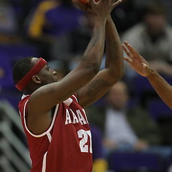 Jan 09, 2010; Baton Rouge, LA, USA; Alabama Crimson Tide guard Senario Hillman (21) shoots against the LSU Tigers during the second half at the Pete Maravich Assembly Center. Alabama defeated LSU 66-49.  Mandatory Credit: Derick E. Hingle-US PRESSWIRE