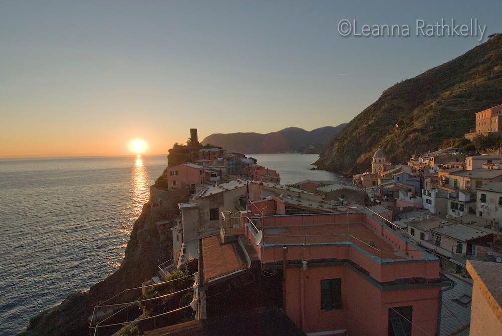 View of the town of Vernazza, Cinque Terre, Italy in evening.