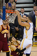 Golden State Warriors center JaVale McGee (1) dunks the ball against the Cleveland Cavaliers at Oracle Arena in Oakland, Calif., on January 16, 2017. (Stan Olszewski/Special to S.F. Examiner)