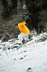 © Licensed to London News Pictures. 20 January 2013. Chipping Norton, Oxfordshire. Terence Goad (40) Fun in the snow at Chipping Norton. Photo credit : MarkHemsworth/LNP
