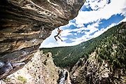 Abram Herman on Mighty Dog, 5.12c, at The Doghouse in Clear Creek Canyon, Golden, CO. Kris Ugarriza - Red Wave Pictures