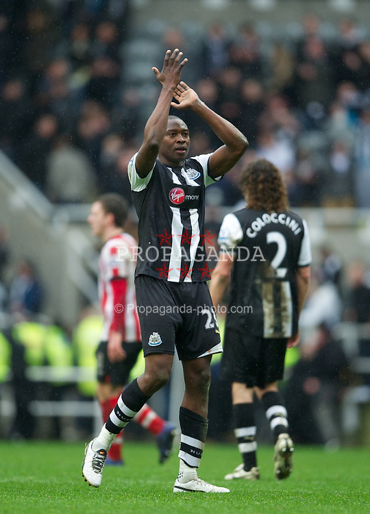 NEWCASTLE, ENGLAND - Sunday, March 4, 2012: Newcastle United's Shola Ameobi celebrates his side's 1-1 draw with Sunderland during the Premiership match at St. James' Park. (Pic by David Rawcliffe/Propaganda)