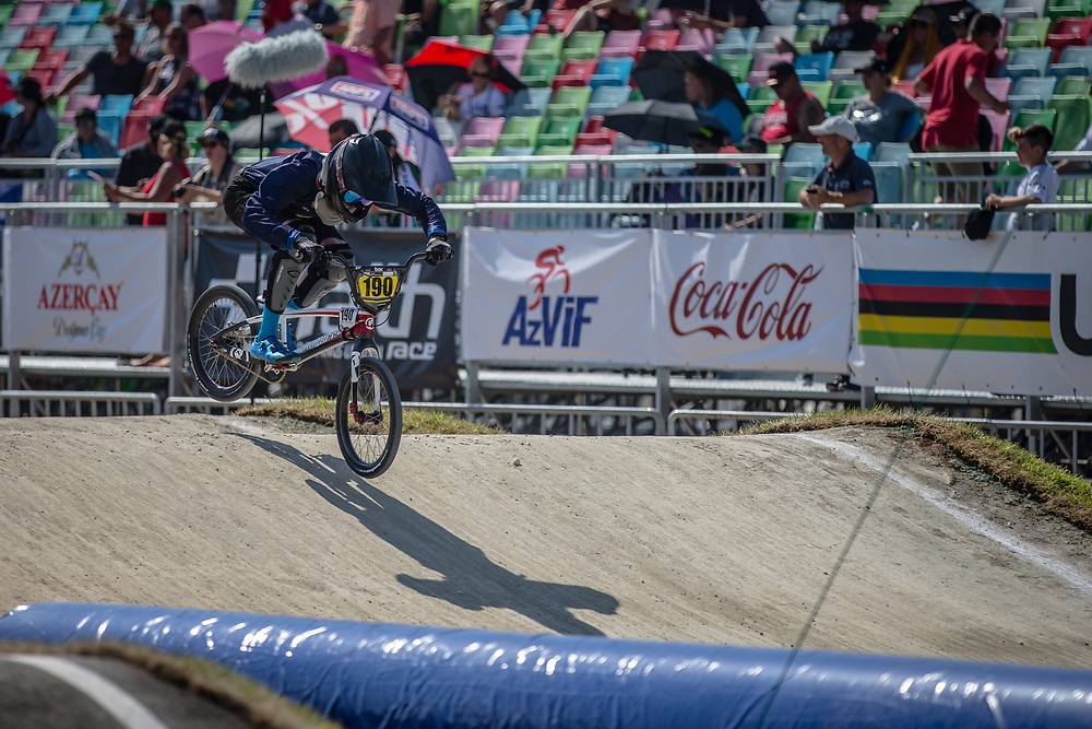 15 Boys #190 (LINDBERG Einar) SWE at the 2018 UCI BMX World Championships in Baku, Azerbaijan.